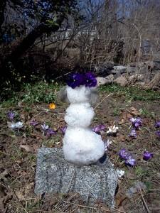 snow girl with crocus